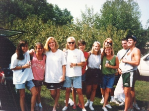 "Activewear 1990 (notice the ""dad"" shorts and XXL t-shirts)"